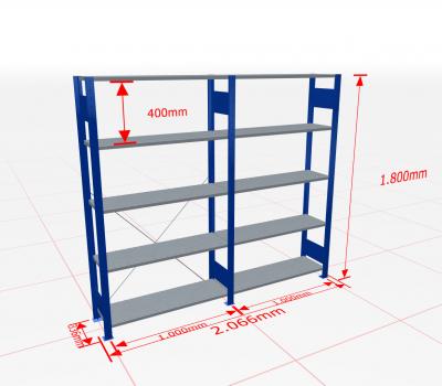 Fachbodenregal Komplettregal 1800x2066x300 mm (HxBxT) SCHULTE Lagertechnik blau 5 Ebenen