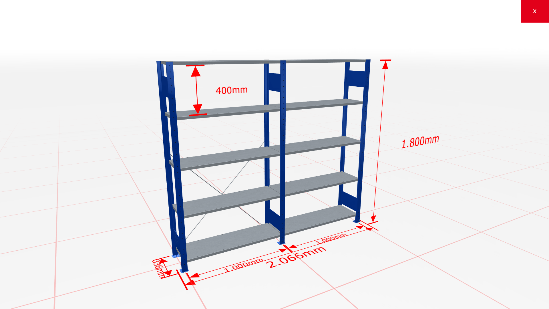 Fachbodenregal Komplettregal 1800x2066x300 mm (HxBxT) SCHULTE Lagertechnik blau 5 Ebenen  150 kg je Boden
