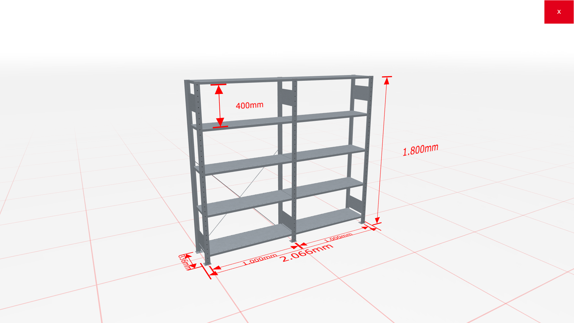Fachbodenregal Komplettregal 1800x2066x300 mm (HxBxT) SCHULTE Lagertechnik verzinkt 5 Ebenen  150 kg je Boden