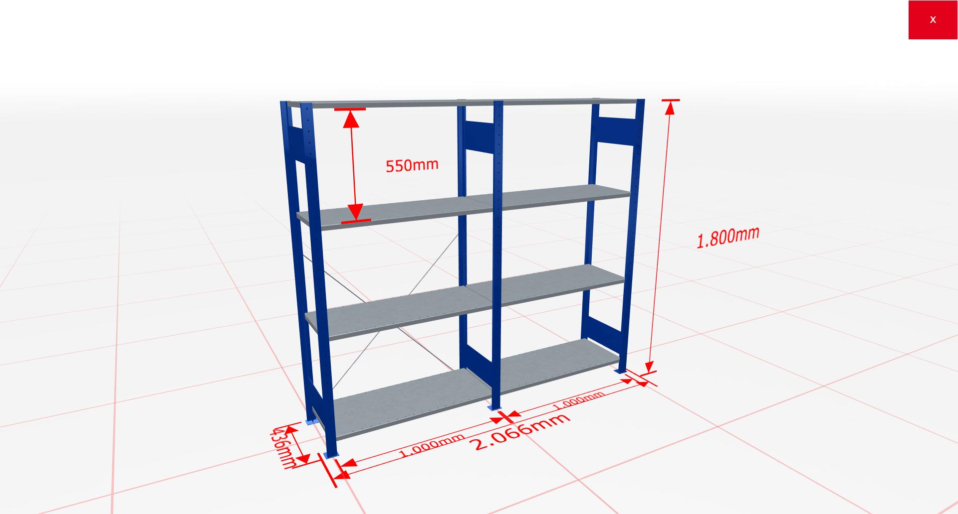 Fachbodenregal Komplettregal 1800x2066x400 mm (HxBxT) SCHULTE Lagertechnik blau 4 Ebenen  150 kg je Boden