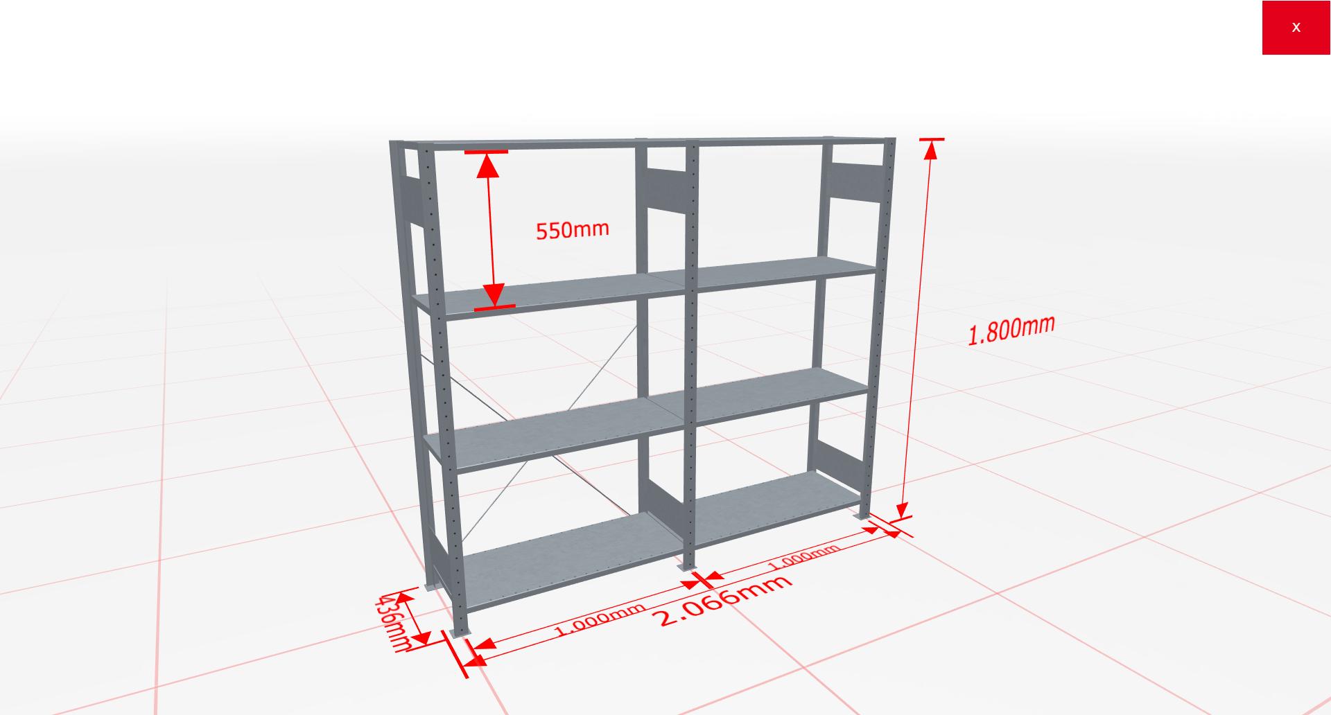 Fachbodenregal Komplettregal 1800x2066x400 mm (HxBxT) SCHULTE Lagertechnik verzinkt 4 Ebenen  150 kg je Boden