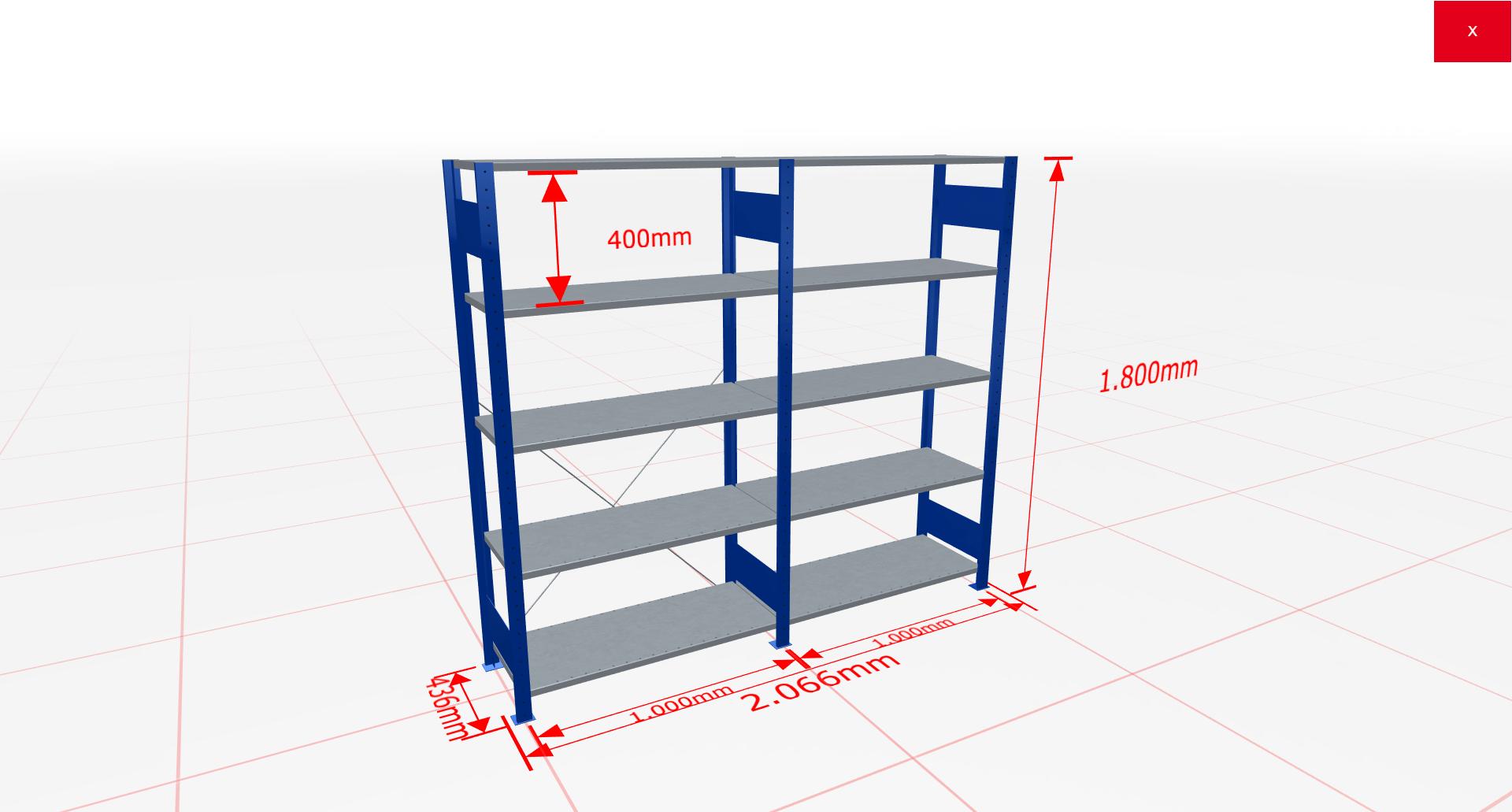 Fachbodenregal Komplettregal 1800x2066x400 mm (HxBxT) SCHULTE Lagertechnik blau 5 Ebenen  150 kg je Boden