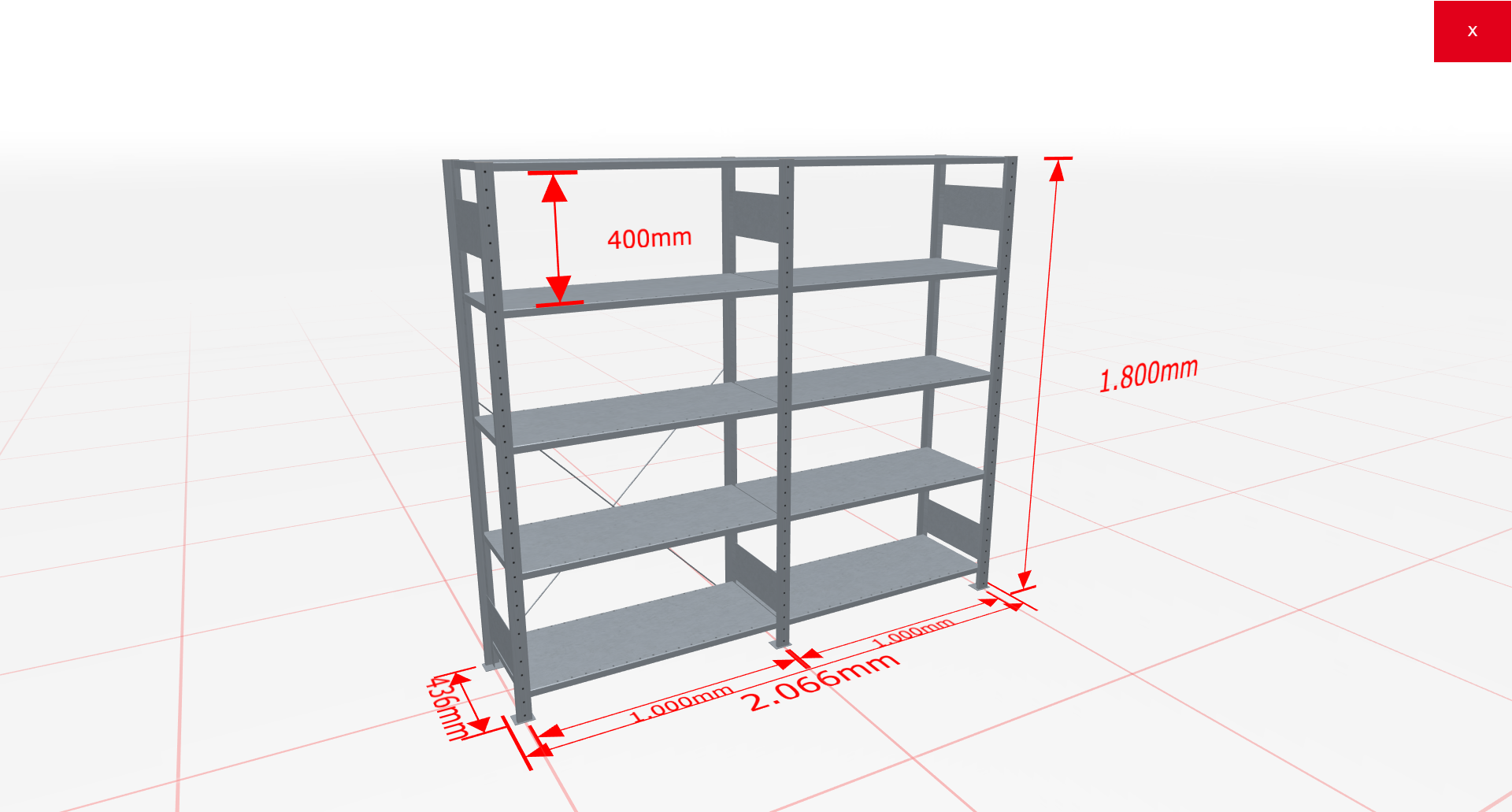 Fachbodenregal Komplettregal 1800x2066x400 mm (HxBxT) SCHULTE Lagertechnik verzinkt 5 Ebenen  150 kg je Boden