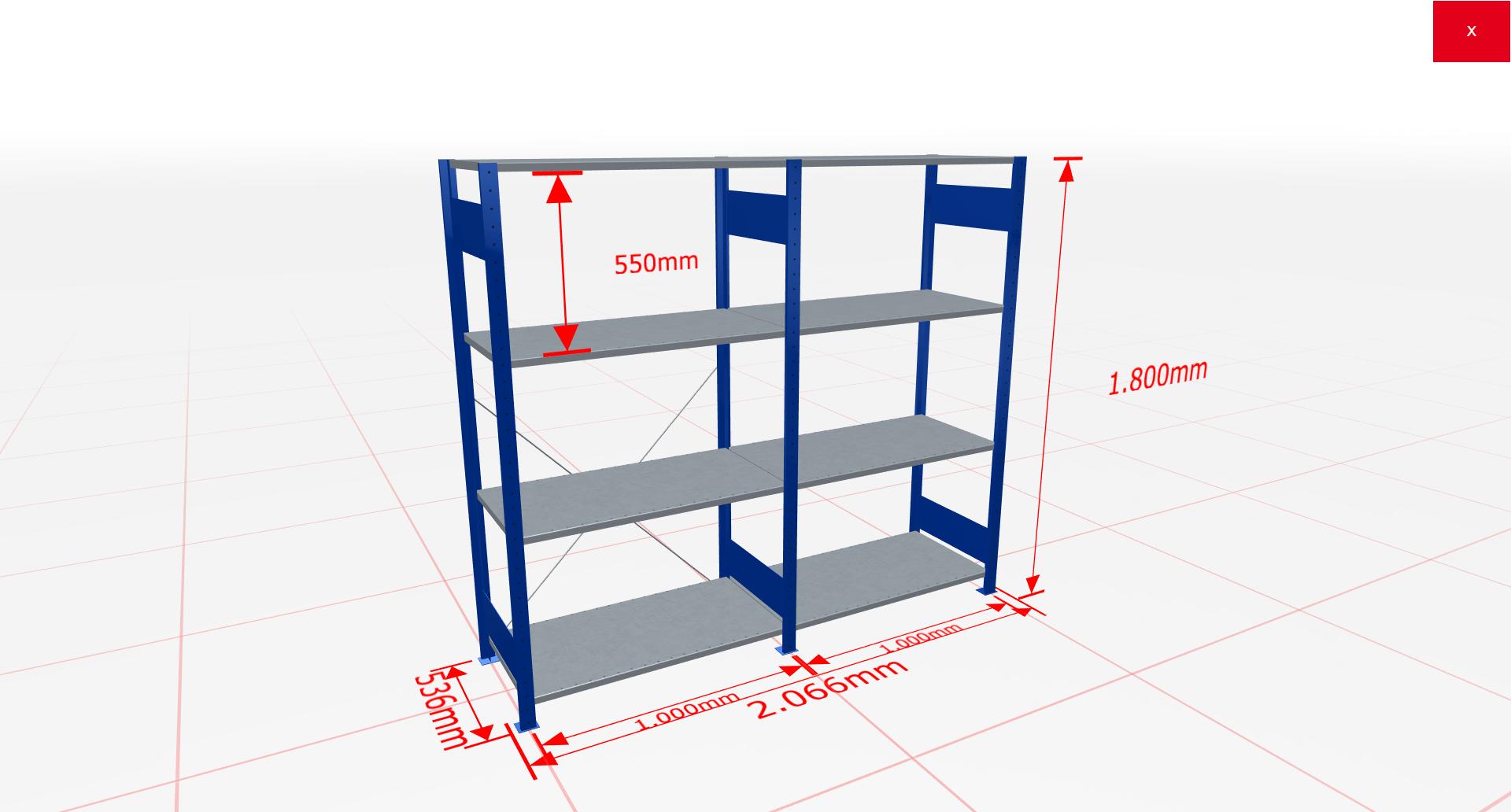 Fachbodenregal Komplettregal 1800x2066x500 mm (HxBxT) SCHULTE Lagertechnik blau 4 Ebenen  150 kg je Boden