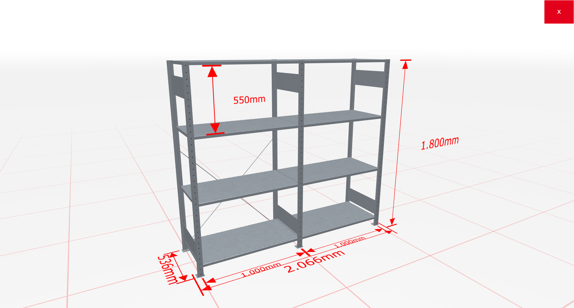 Fachbodenregal Komplettregal 1800x2066x500 mm (HxBxT) SCHULTE Lagertechnik verzinkt 4 Ebenen  150 kg je Boden
