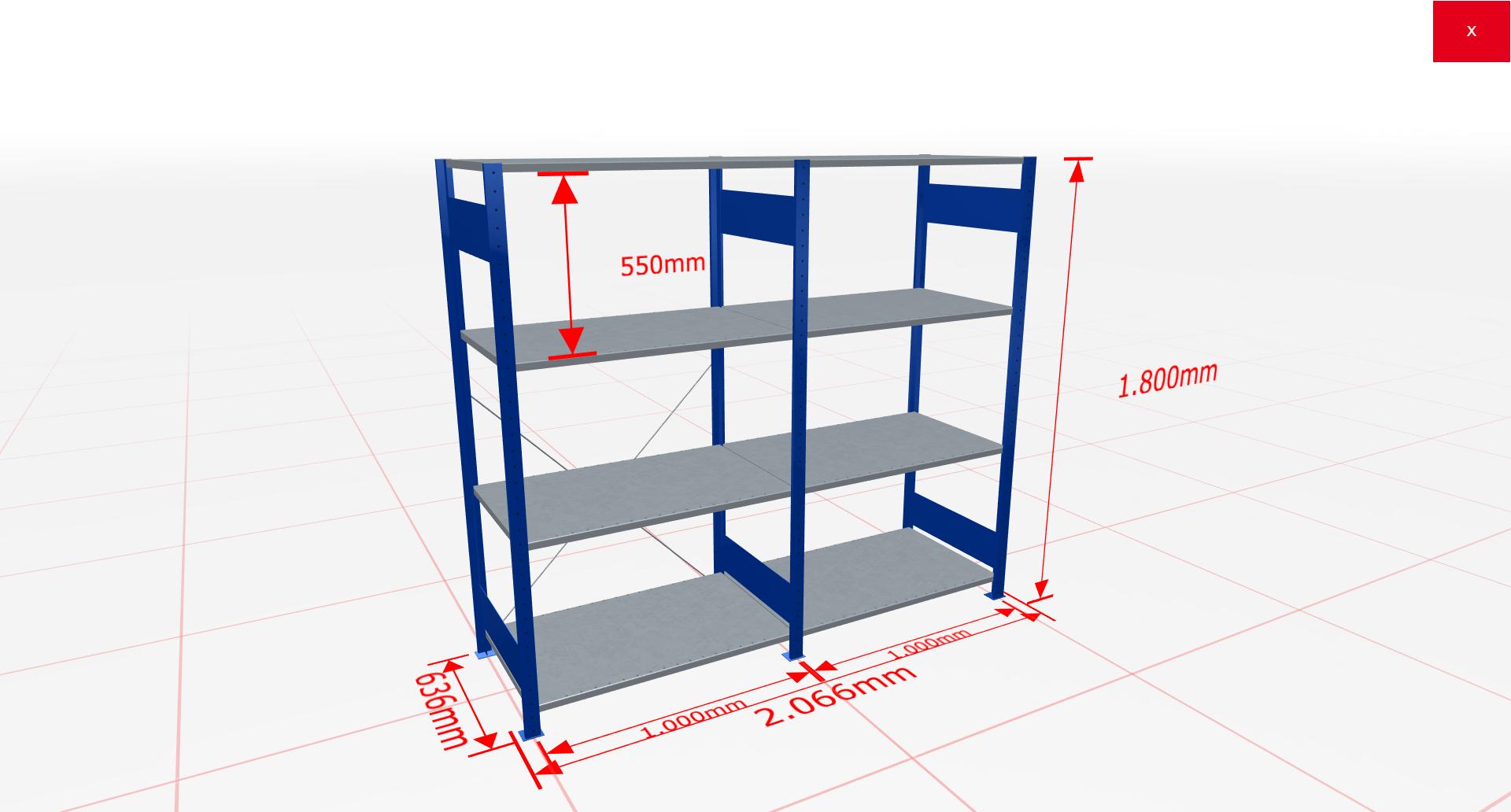 Fachbodenregal Komplettregal 1800x2066x600 mm (HxBxT) SCHULTE Lagertechnik blau 4 Ebenen  150 kg je Boden