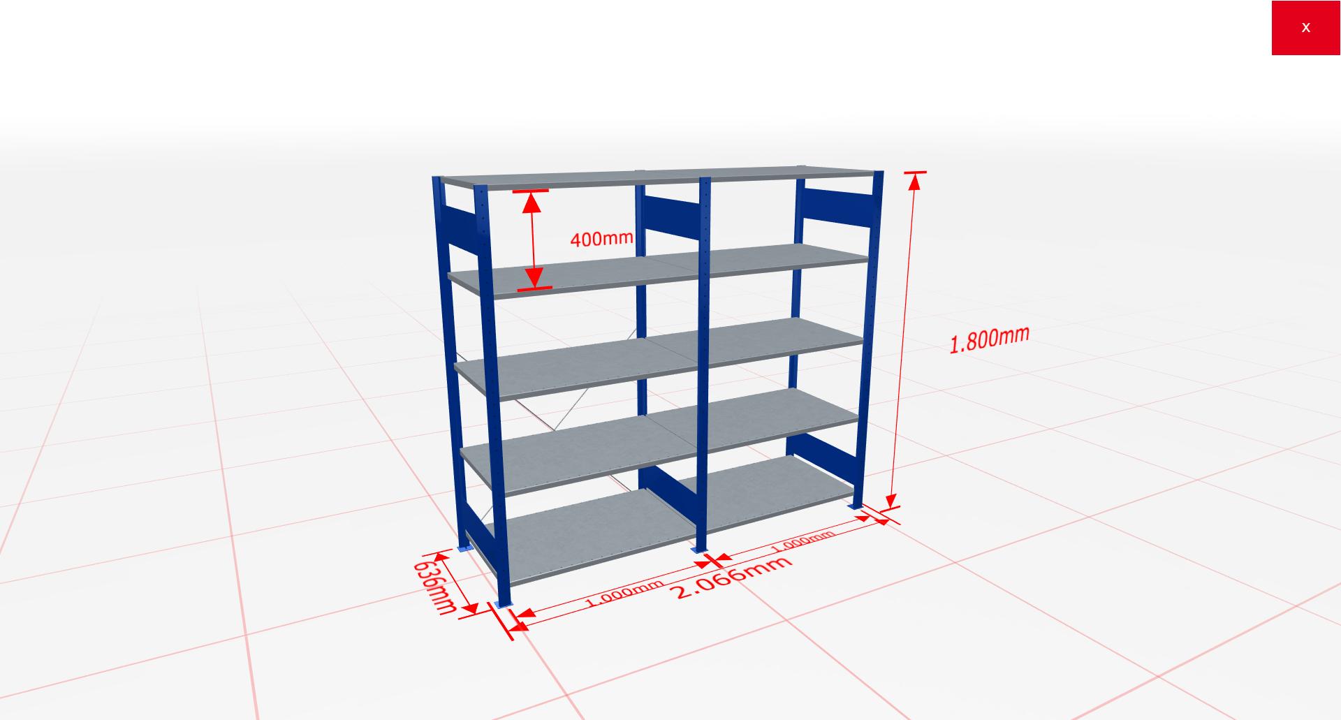 Fachbodenregal Komplettregal 1800x2066x600 mm (HxBxT) SCHULTE Lagertechnik blau 5 Ebenen  150 kg je Boden