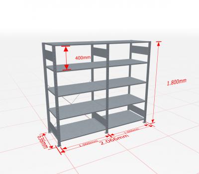 Fachbodenregal Komplettregal 1800x2066x600 mm (HxBxT) SCHULTE Lagertechnik verzinkt 5 Ebenen