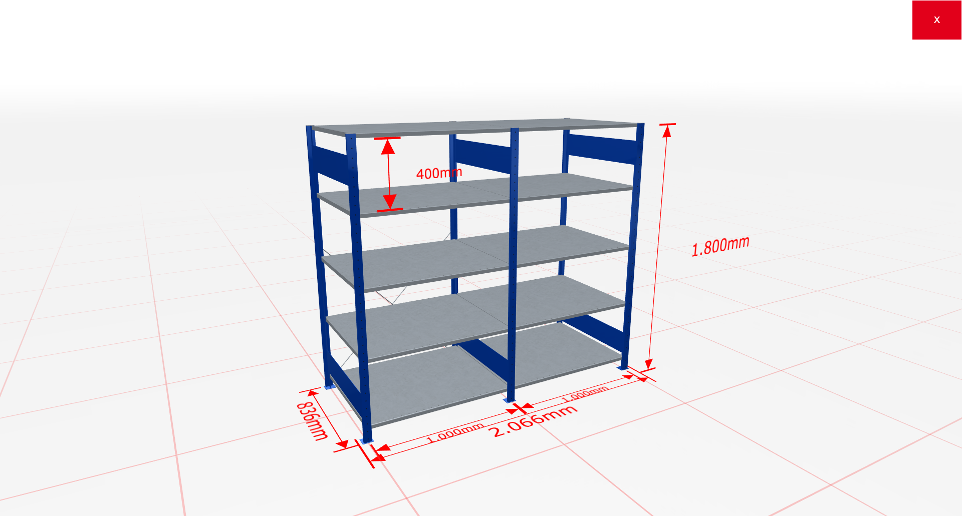 Fachbodenregal Komplettregal 1800x2066x800 mm (HxBxT) SCHULTE Lagertechnik blau 5 Ebenen  150 kg je Boden