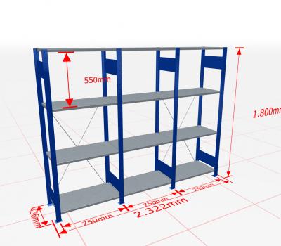 Fachbodenregal Komplettregal 1800x2322x400 mm (HxBxT) SCHULTE Lagertechnik blau 4 Ebenen