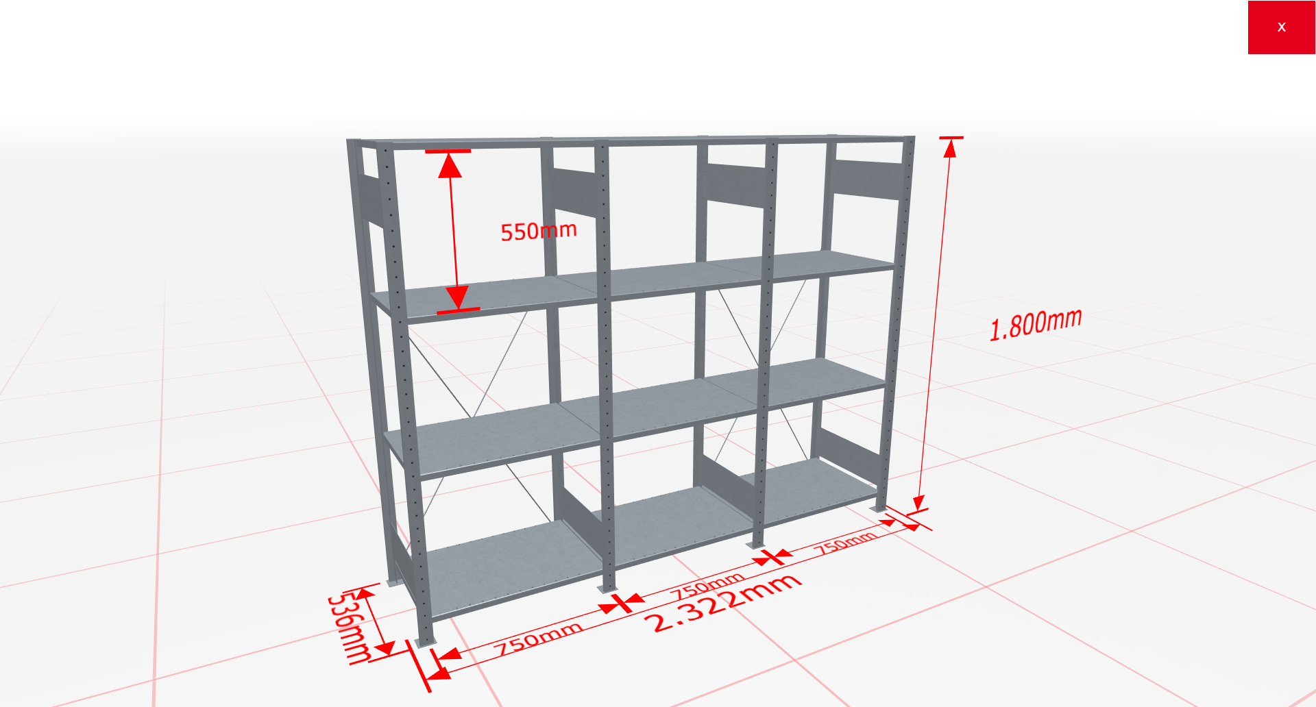 Fachbodenregal Komplettregal 1800x2322x500 mm (HxBxT) SCHULTE Lagertechnik verzinkt 4 Ebenen  150 kg je Boden