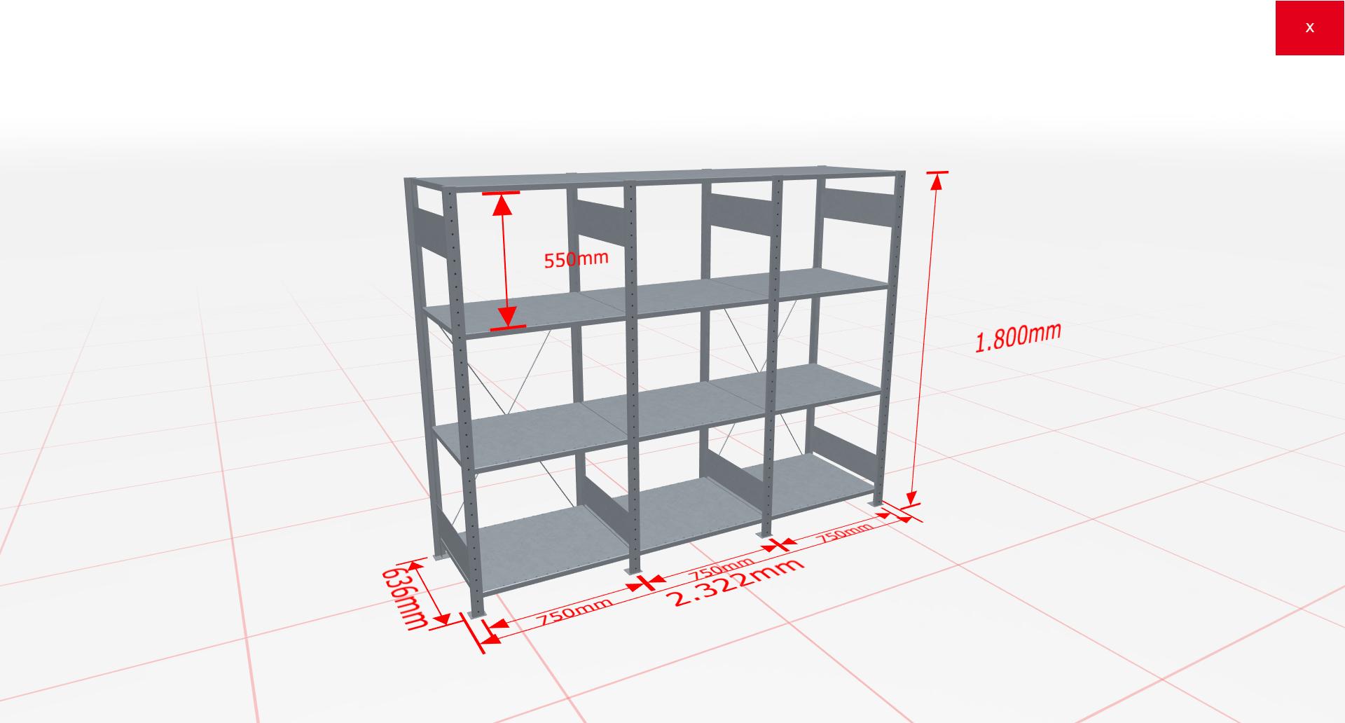 Fachbodenregal Komplettregal 1800x2322x600 mm (HxBxT) SCHULTE Lagertechnik verzinkt 4 Ebenen  150 kg je Boden