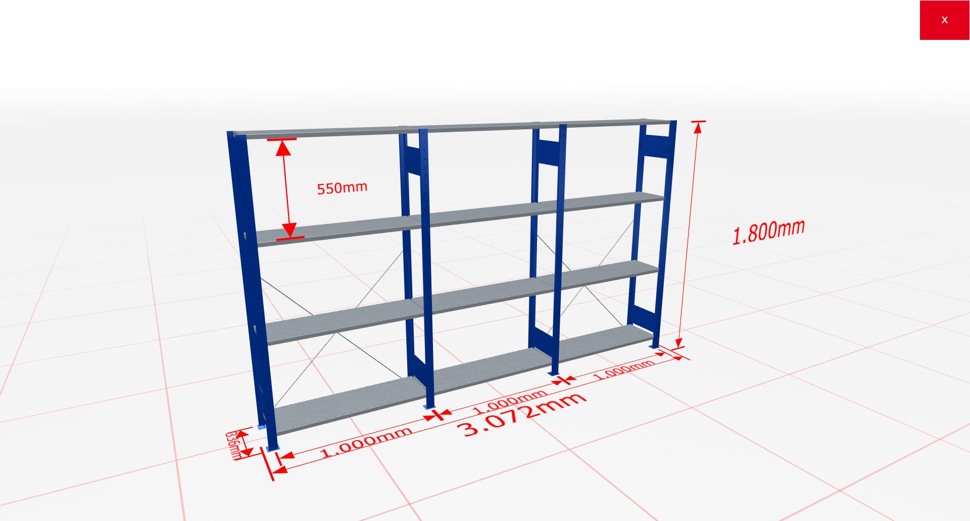 Fachbodenregal Komplettregal 1800x3072x300 mm (HxBxT) SCHULTE Lagertechnik blau 4 Ebenen  150 kg je Boden