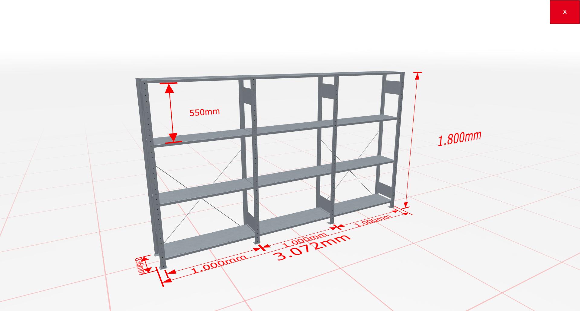 Fachbodenregal Komplettregal 1800x3072x300 mm (HxBxT) SCHULTE Lagertechnik verzinkt 4 Ebenen  150 kg je Boden