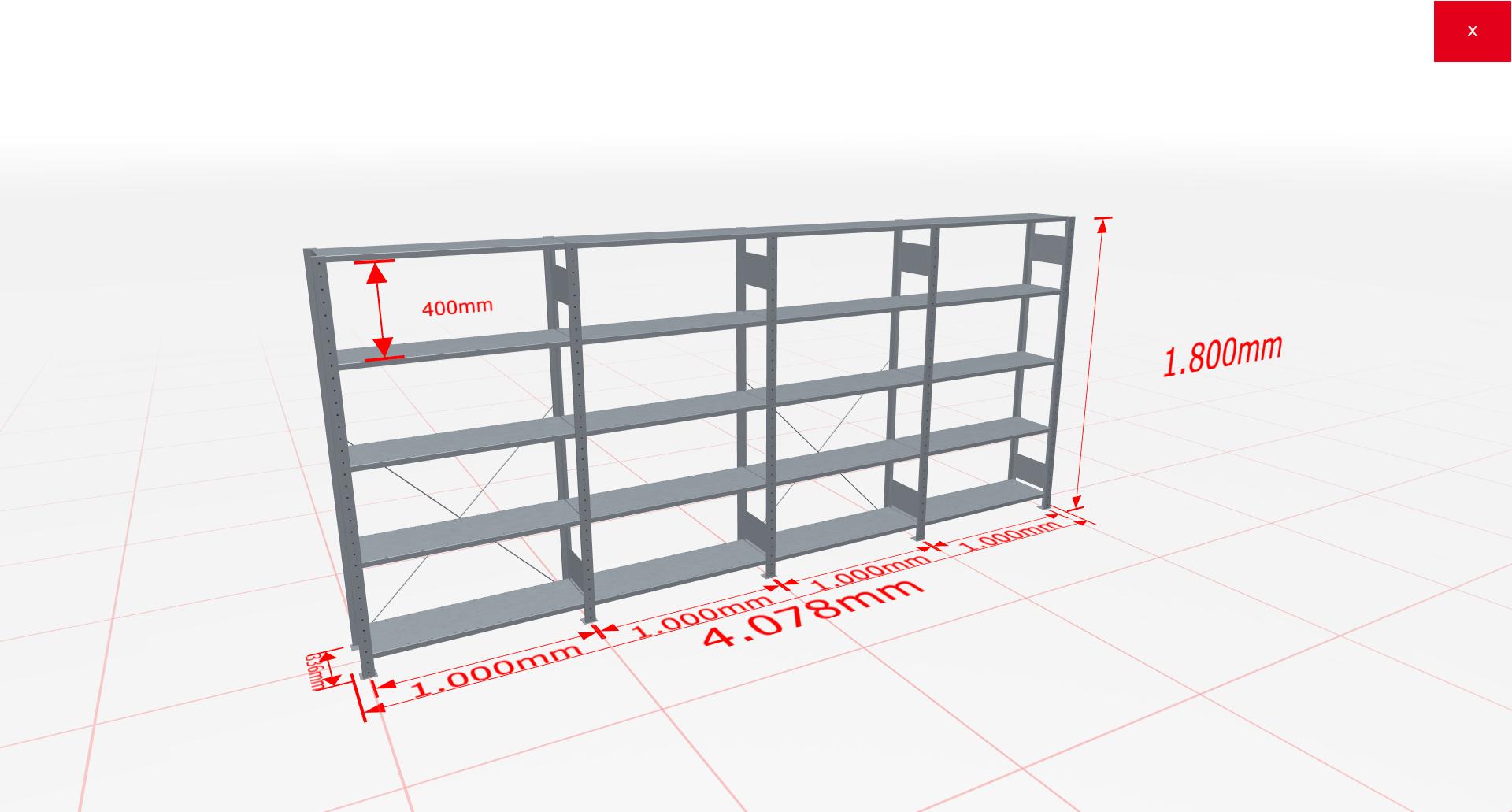 Fachbodenregal Komplettregal 1800x3072x300 mm (HxBxT) SCHULTE Lagertechnik verzinkt 5 Ebenen  150 kg je Boden