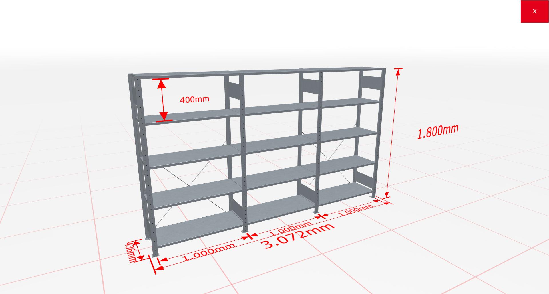 Fachbodenregal Komplettregal 1800x3072x400 mm (HxBxT) SCHULTE Lagertechnik verzinkt 5 Ebenen  150 kg je Boden