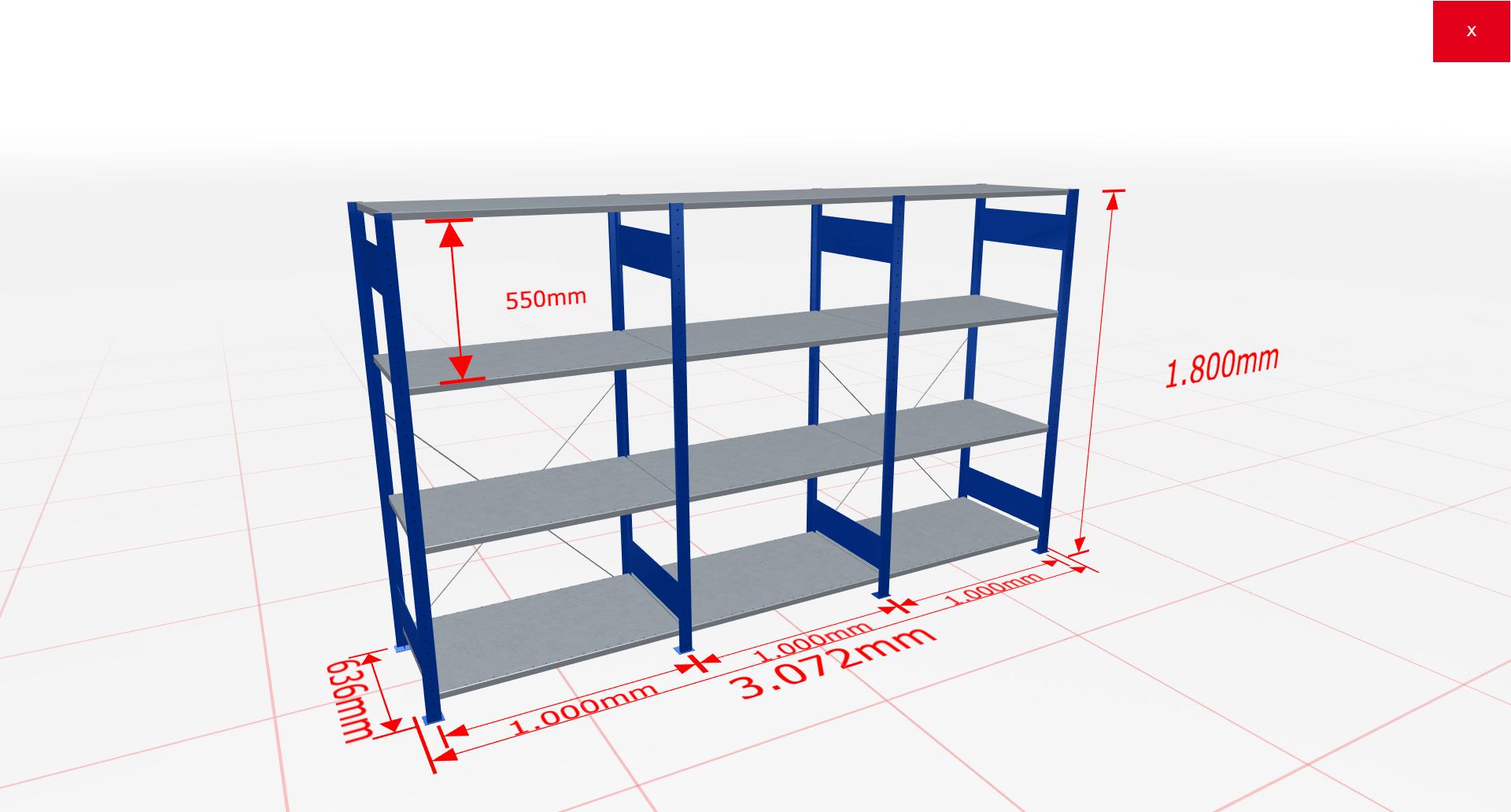 Fachbodenregal Komplettregal 1800x3072x600 mm (HxBxT) SCHULTE Lagertechnik blau 4 Ebenen  150 kg je Boden