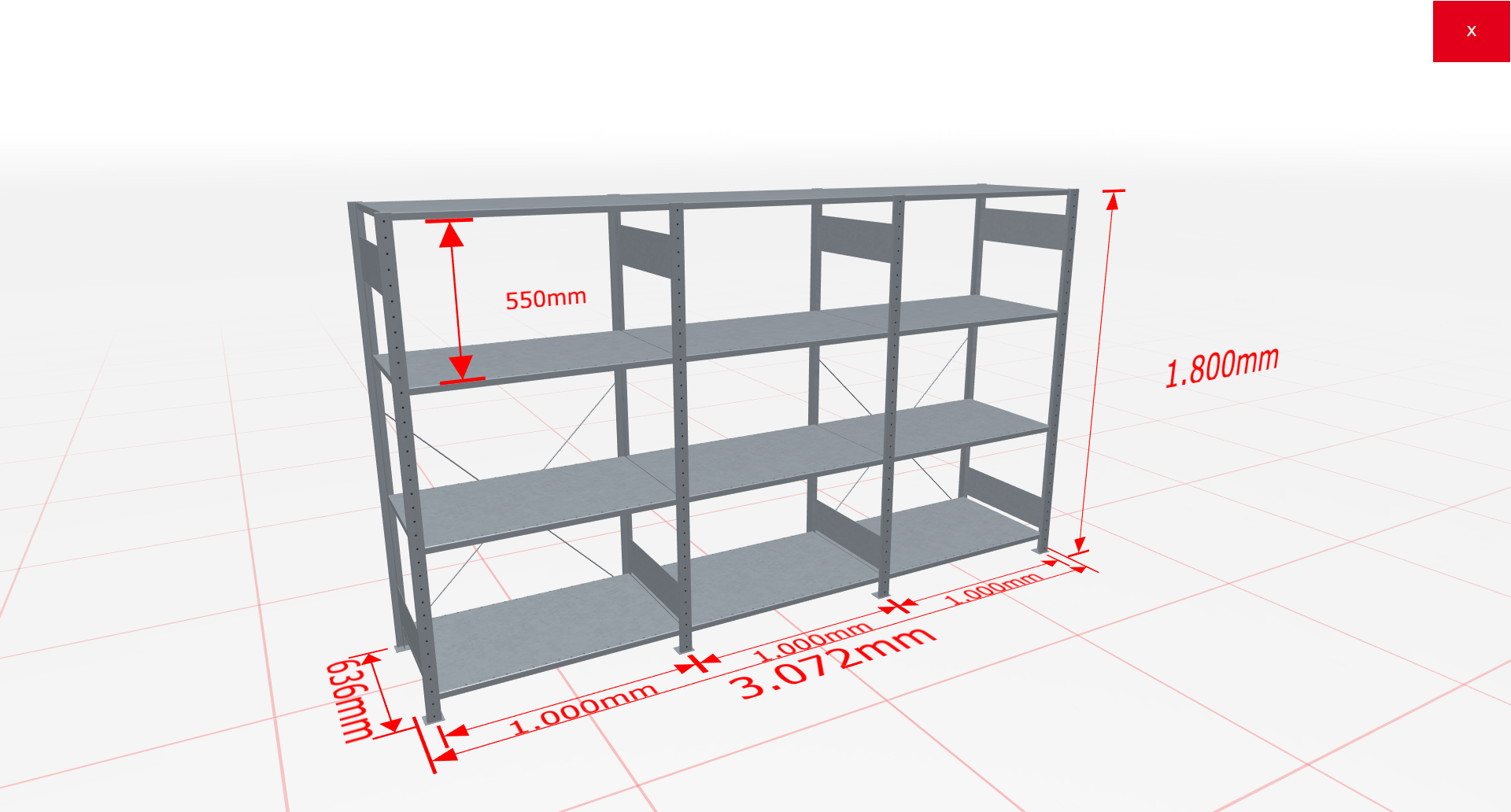 Fachbodenregal Komplettregal 1800x3072x600 mm (HxBxT) SCHULTE Lagertechnik verzinkt 4 Ebenen  150 kg je Boden