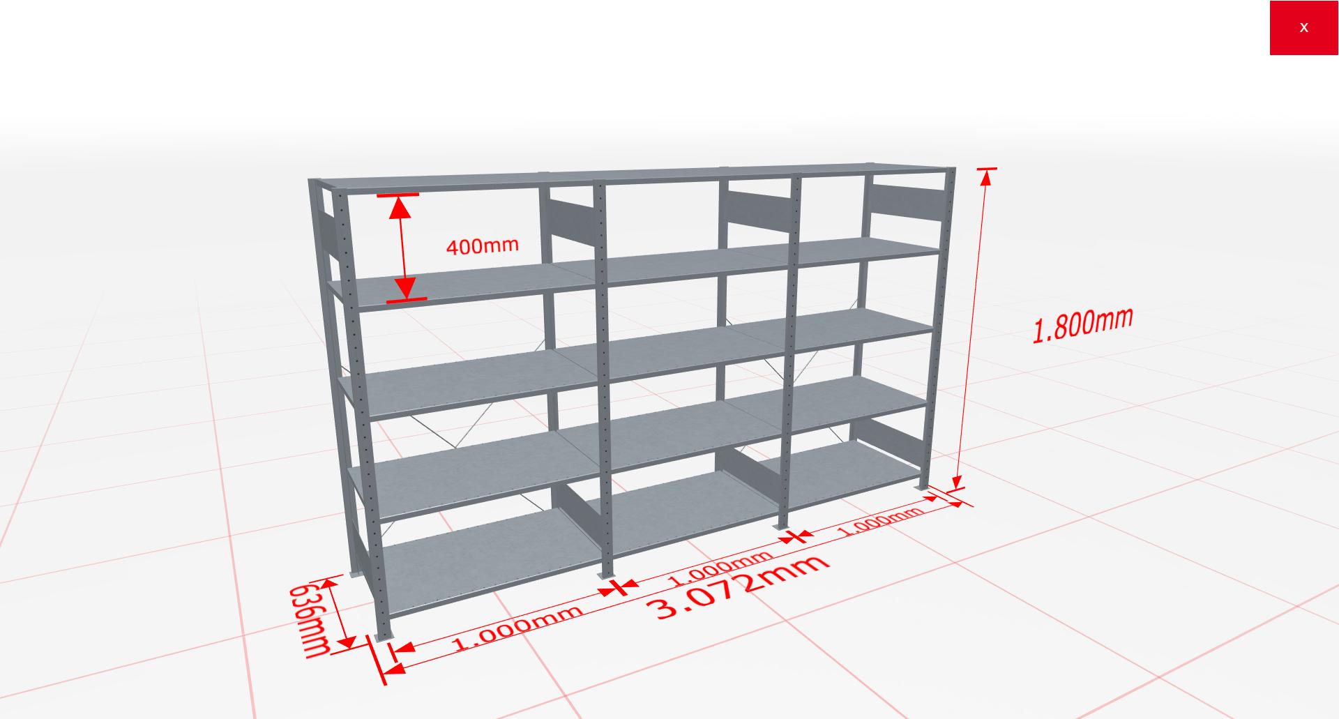 Fachbodenregal Komplettregal 1800x3072x600 mm (HxBxT) SCHULTE Lagertechnik verzinkt 5 Ebenen  150 kg je Boden