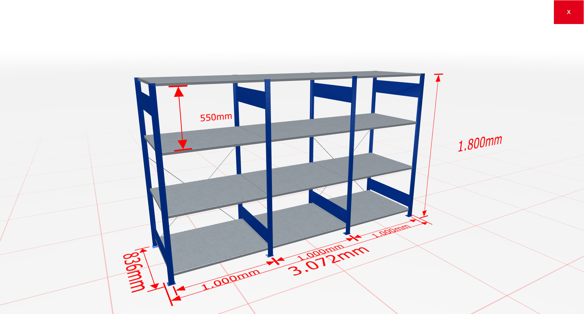 Fachbodenregal Komplettregal 1800x3072x800 mm (HxBxT) SCHULTE Lagertechnik blau 4 Ebenen  150 kg je Boden