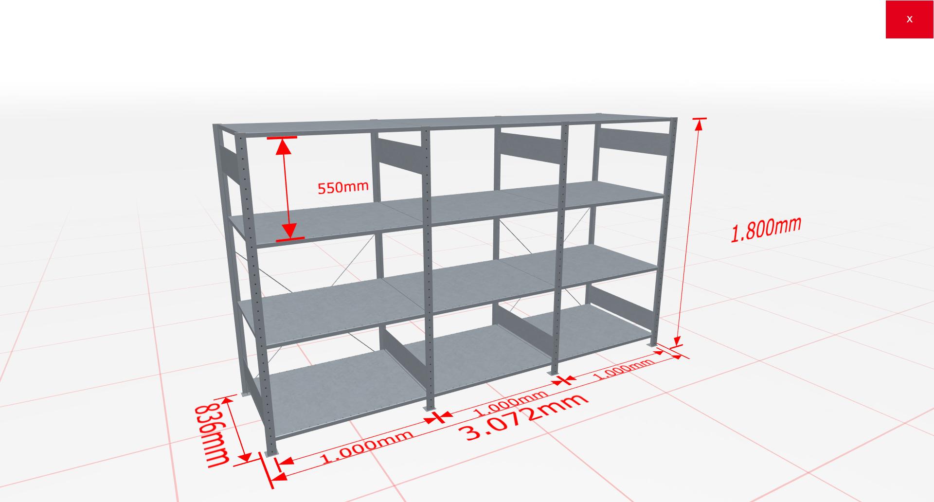Fachbodenregal Komplettregal 1800x3072x800 mm (HxBxT) SCHULTE Lagertechnik verzinkt 4 Ebenen  150 kg je Boden