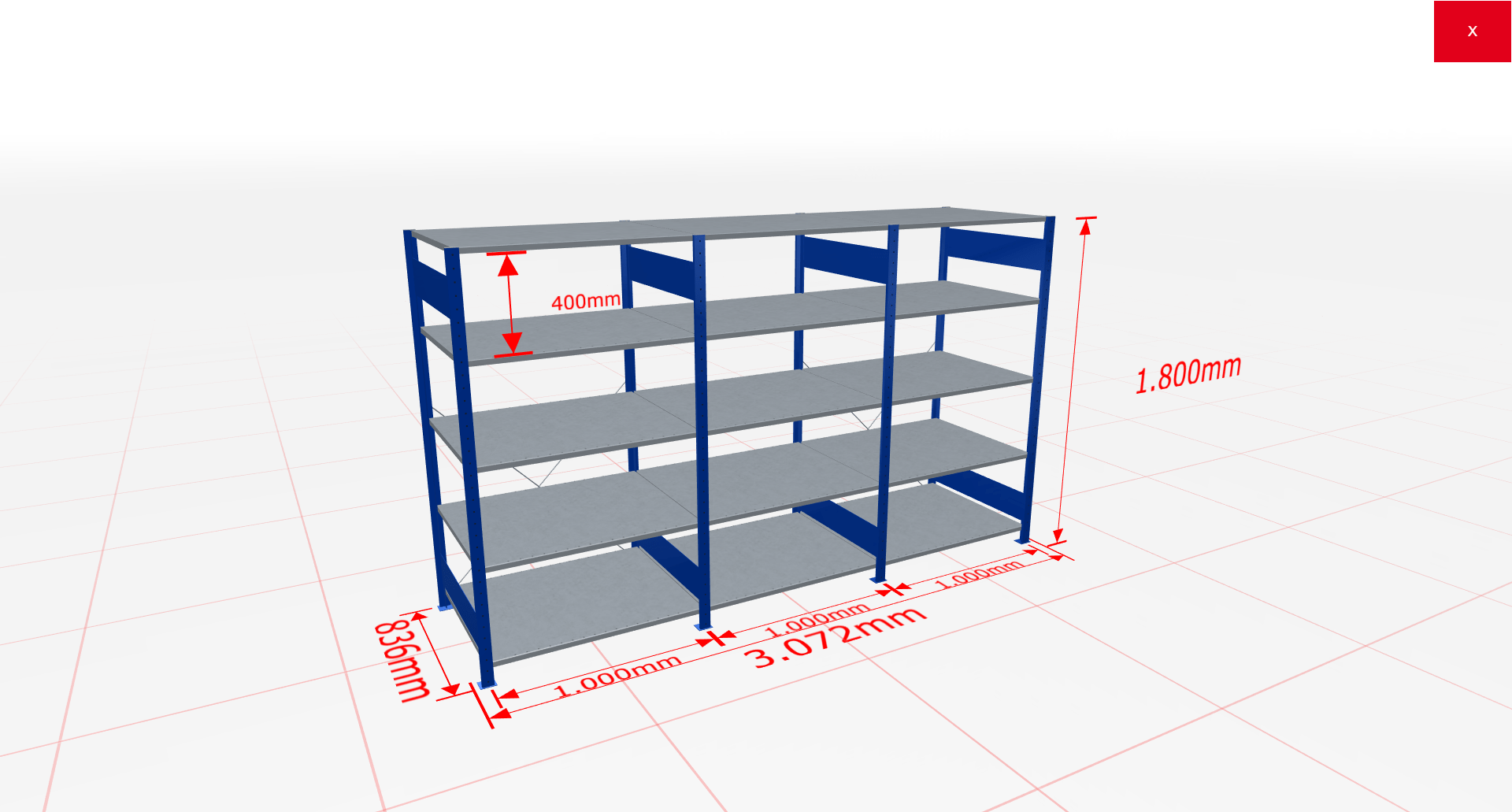 Fachbodenregal Komplettregal 1800x3072x800 mm (HxBxT) SCHULTE Lagertechnik blau 5 Ebenen  150 kg je Boden