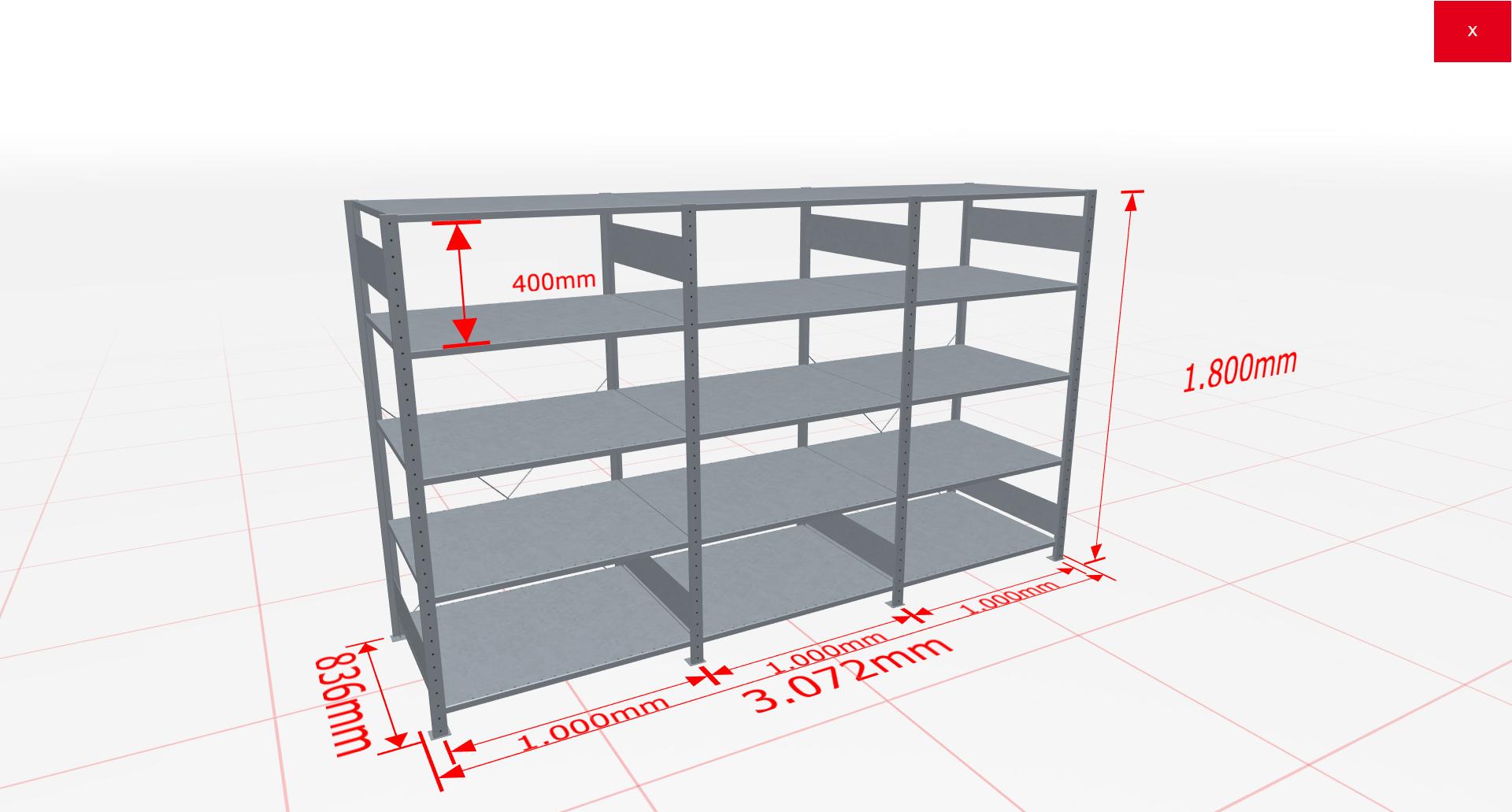 Fachbodenregal Komplettregal 1800x3072x800 mm (HxBxT) SCHULTE Lagertechnik verzinkt 5 Ebenen  150 kg je Boden