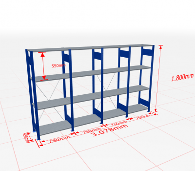Fachbodenregal Komplettregal 1800x3078x400 mm (HxBxT) SCHULTE Lagertechnik blau 4 Ebenen