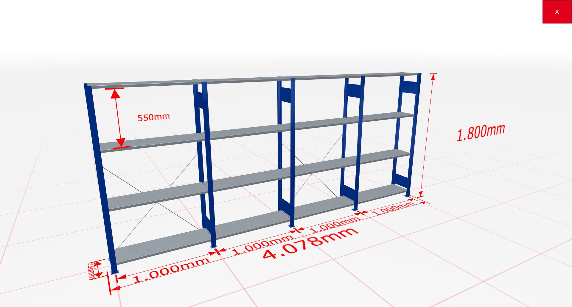 Fachbodenregal Komplettregal 1800x4078x300 mm (HxBxT) SCHULTE Lagertechnik blau 4 Ebenen  150 kg je Boden