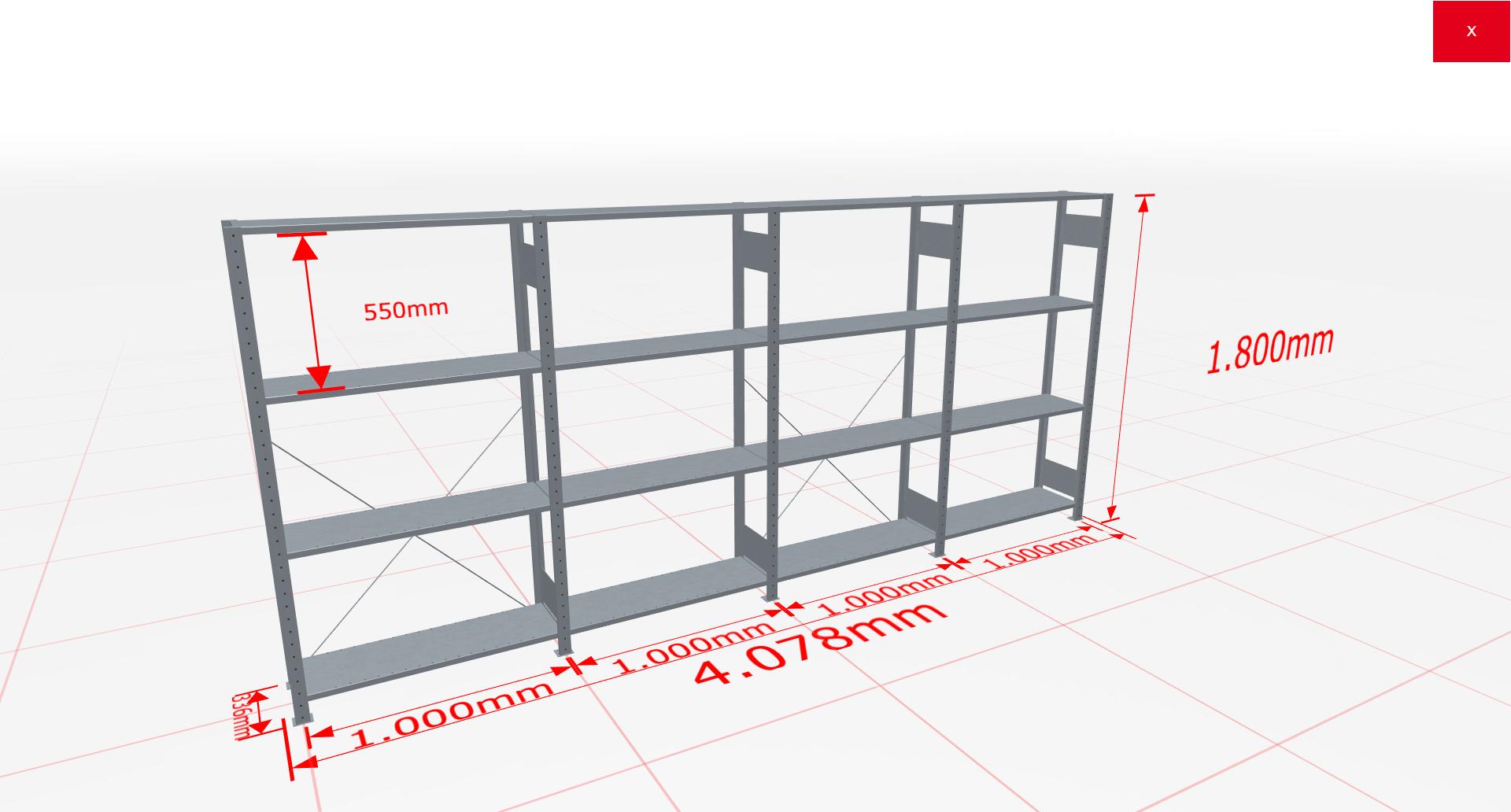 Fachbodenregal Komplettregal 1800x4078x300 mm (HxBxT) SCHULTE Lagertechnik verzinkt 4 Ebenen  150 kg je Boden