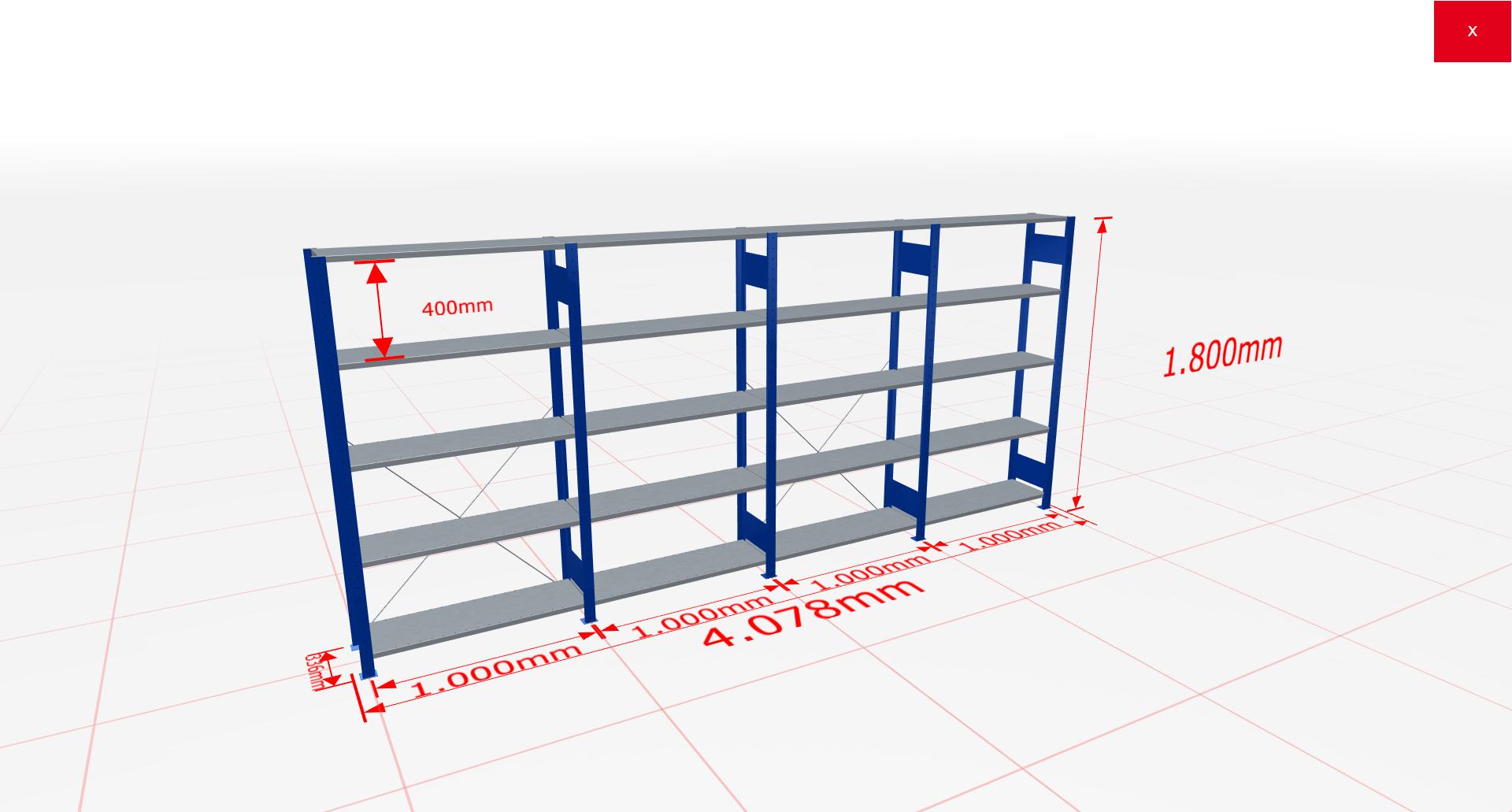 Fachbodenregal Komplettregal 1800x4078x300 mm (HxBxT) SCHULTE Lagertechnik blau 5 Ebenen  150 kg je Boden