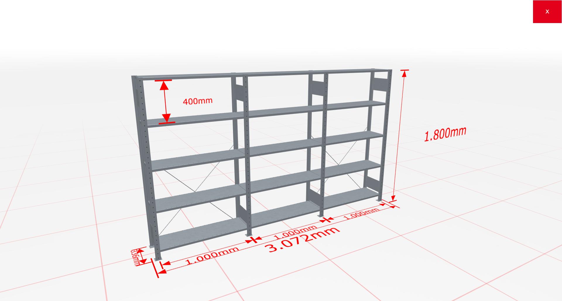 Fachbodenregal Komplettregal 1800x4078x300 mm (HxBxT) SCHULTE Lagertechnik verzinkt 5 Ebenen  150 kg je Boden