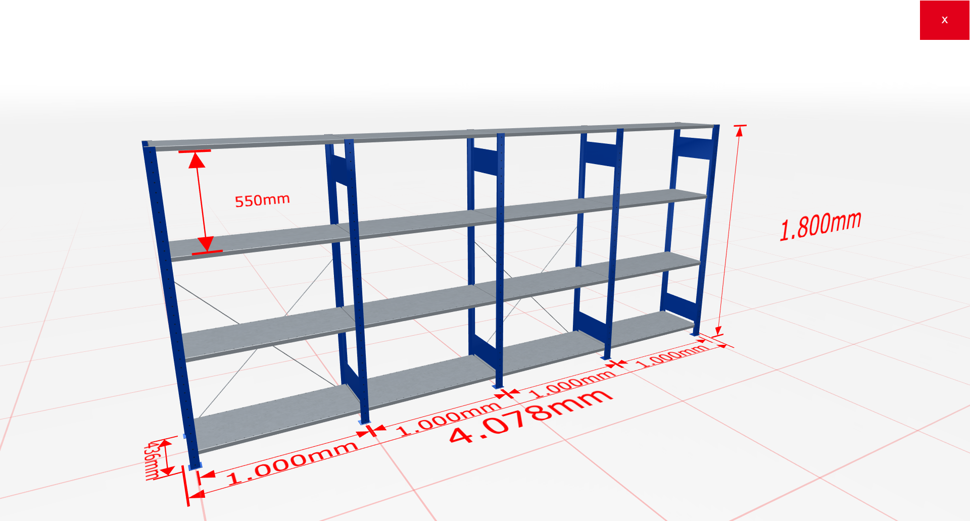 Fachbodenregal Komplettregal 1800x4078x400 mm (HxBxT) SCHULTE Lagertechnik blau 4 Ebenen  150 kg je Boden
