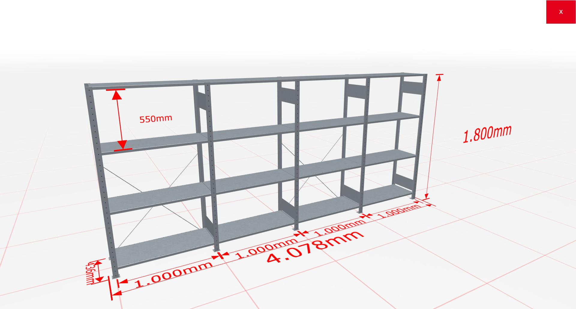 Fachbodenregal Komplettregal 1800x4078x400 mm (HxBxT) SCHULTE Lagertechnik verzinkt 4 Ebenen  150 kg je Boden