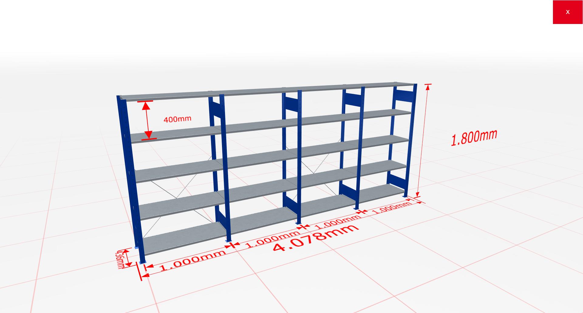 Fachbodenregal Komplettregal 1800x4078x400 mm (HxBxT) SCHULTE Lagertechnik blau 5 Ebenen  150 kg je Boden