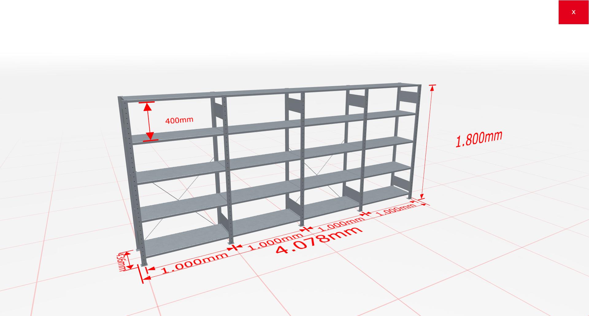 Fachbodenregal Komplettregal 1800x4078x400 mm (HxBxT) SCHULTE Lagertechnik verzinkt 5 Ebenen  150 kg je Boden