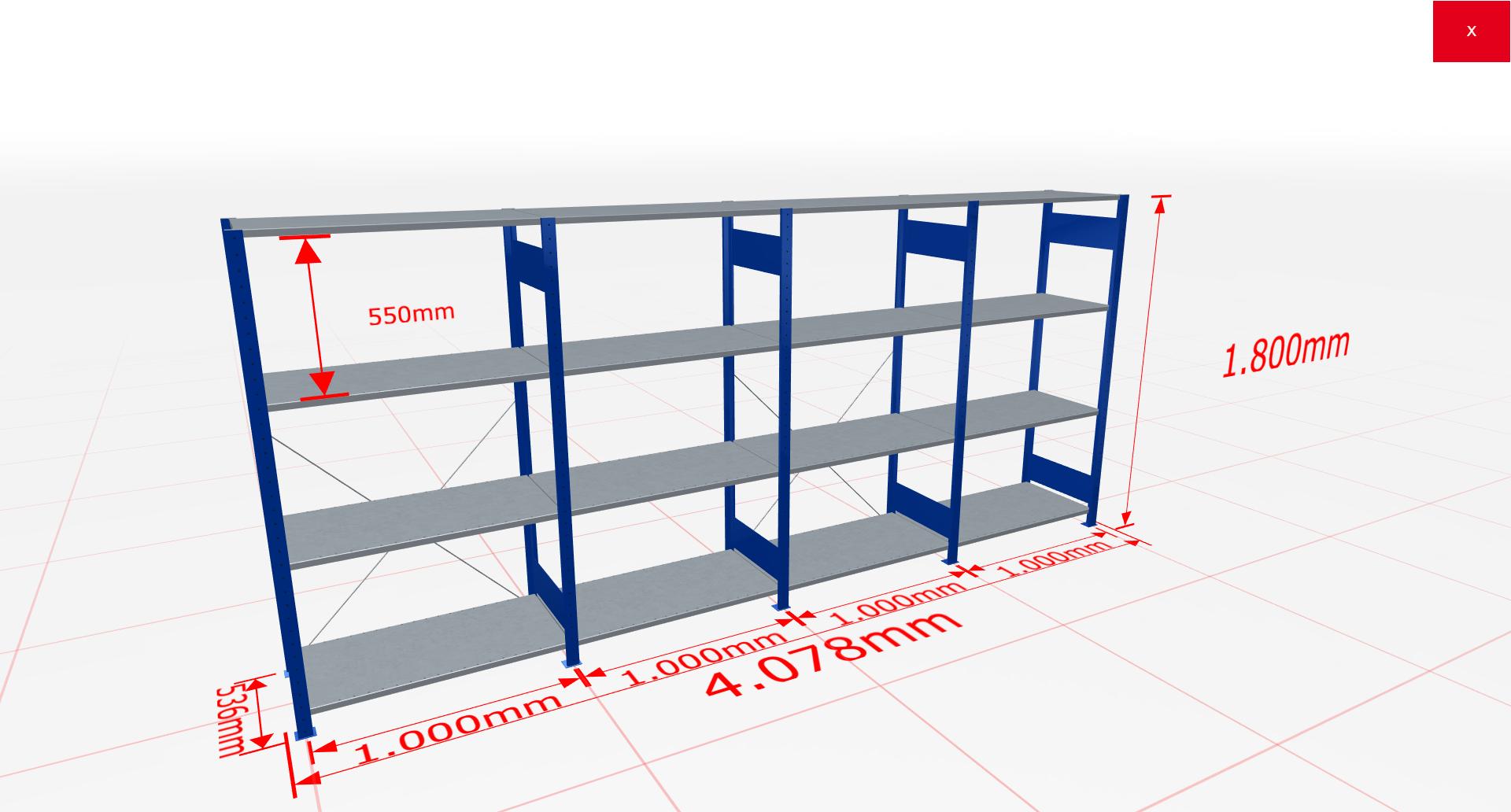 Fachbodenregal Komplettregal 1800x4078x500 mm (HxBxT) SCHULTE Lagertechnik blau 4 Ebenen  150 kg je Boden