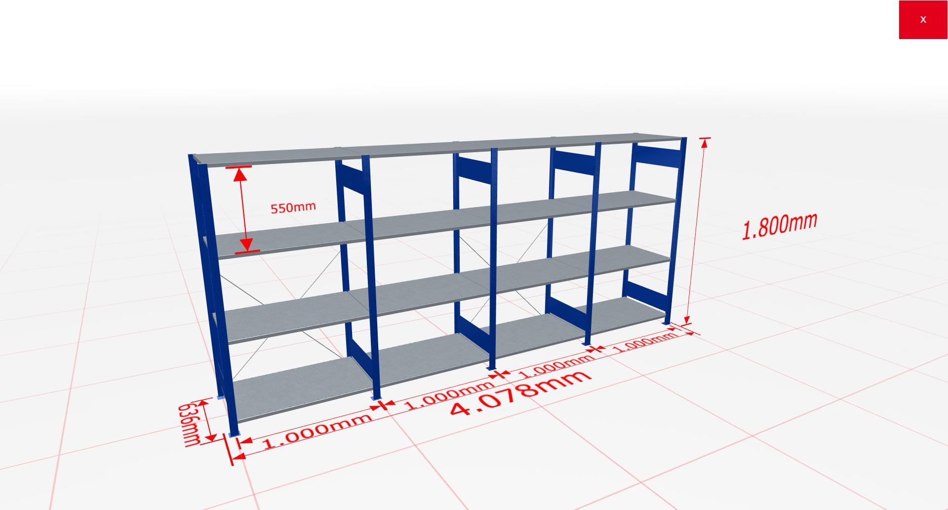 Fachbodenregal Komplettregal 1800x4078x600 mm (HxBxT) SCHULTE Lagertechnik blau 4 Ebenen  150 kg je Boden