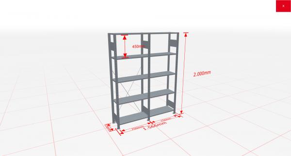 Fachbodenregal Komplettregal 2000x1566x300 mm (HxBxT) SCHULTE Lagertechnik verzinkt 5 Ebenen