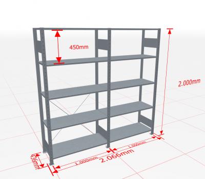 Fachbodenregal Komplettregal 2000x2066x400 mm (HxBxT) SCHULTE Lagertechnik verzinkt