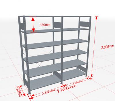 Fachbodenregal Komplettregal 2000x2066x500 mm (HxBxT) SCHULTE Lagertechnik verzinkt 6 Ebenen