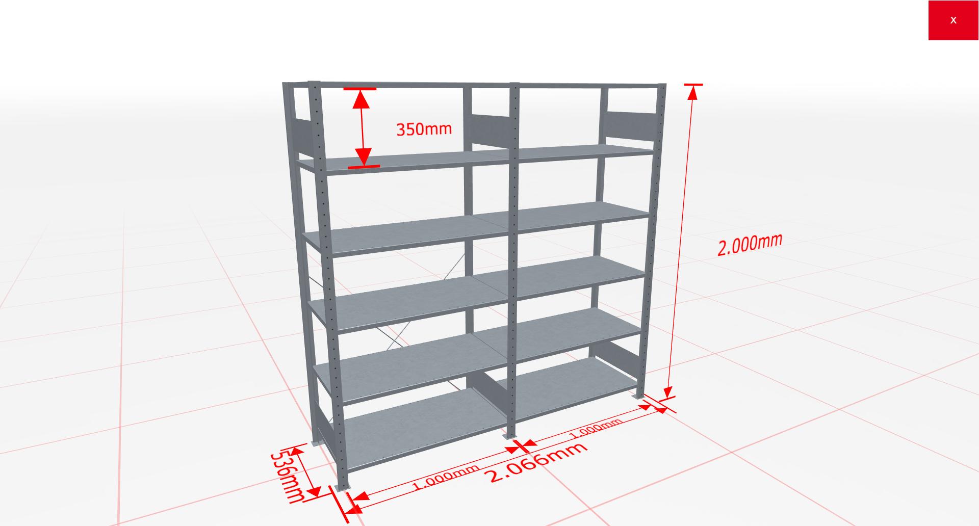 Fachbodenregal Komplettregal 2000x2066x500 mm (HxBxT) SCHULTE Lagertechnik verzinkt 6 Ebenen  150 kg je Boden