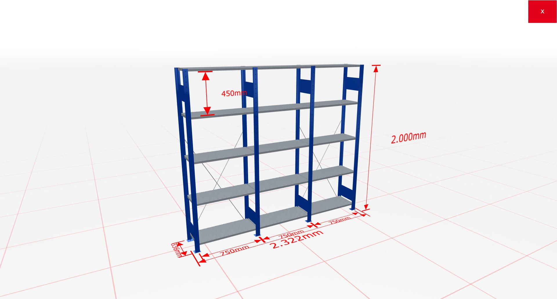 Fachbodenregal Komplettregal 2000x2322x300 mm (HxBxT) SCHULTE Lagertechnik blau 5 Ebenen  150 kg je Boden