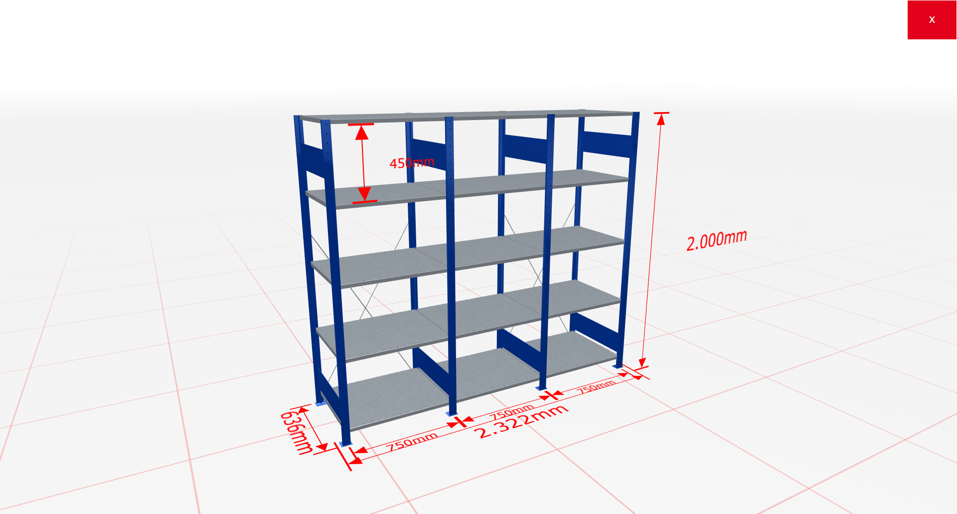 Fachbodenregal Komplettregal 2000x2322x600 mm (HxBxT) SCHULTE Lagertechnik blau 5 Ebenen  150 kg je Boden