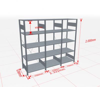 Fachbodenregal Komplettregal 2000x2322x600 mm (HxBxT) SCHULTE Lagertechnik verzinkt 5 Ebenen