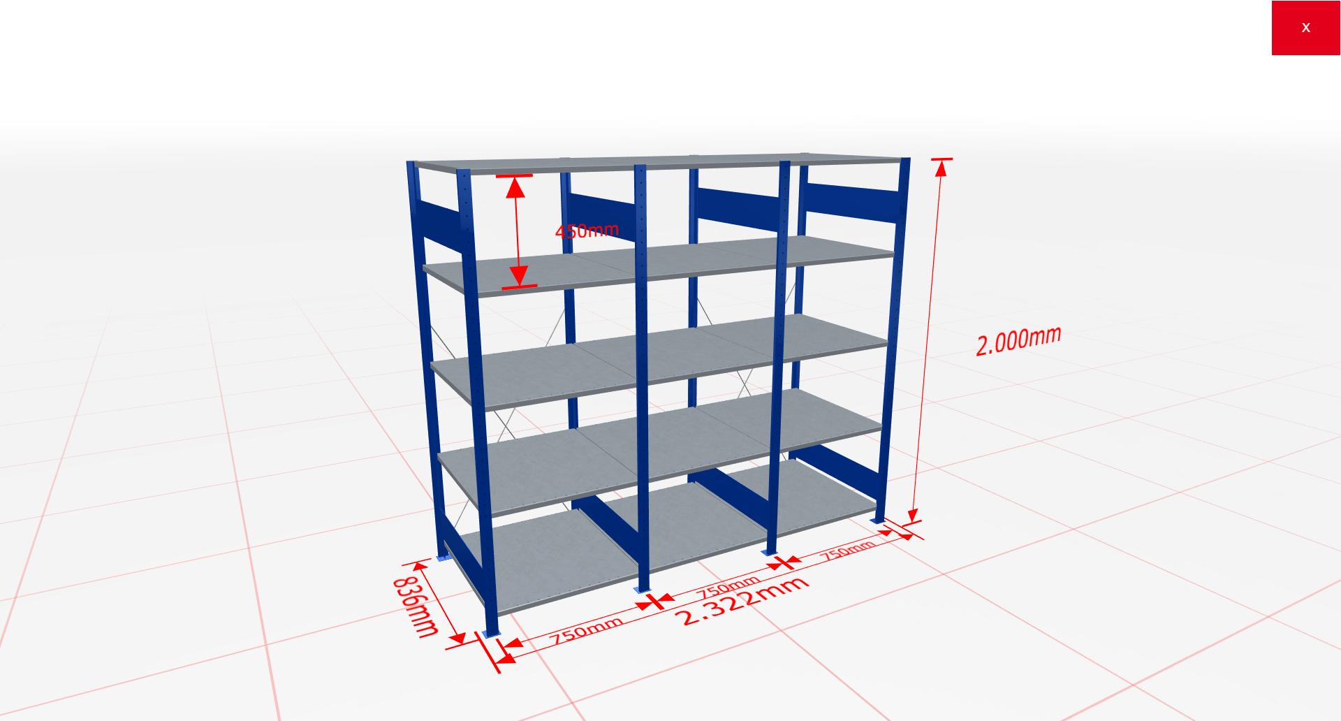 Fachbodenregal Komplettregal 2000x2322x800 mm (HxBxT) SCHULTE Lagertechnik blau 5 Ebenen  150 kg je Boden