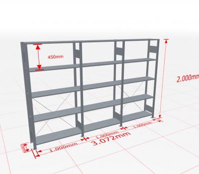 Fachbodenregal Komplettregal 2000x3072x300 mm (HxBxT) SCHULTE Lagertechnik verzinkt