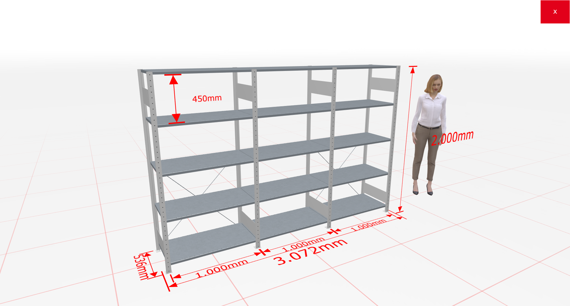 Fachbodenregal Komplettregal 2000x3072x500 mm (HxBxT) SCHULTE Lagertechnik lichtgrau 5 Ebenen  150 kg je Boden