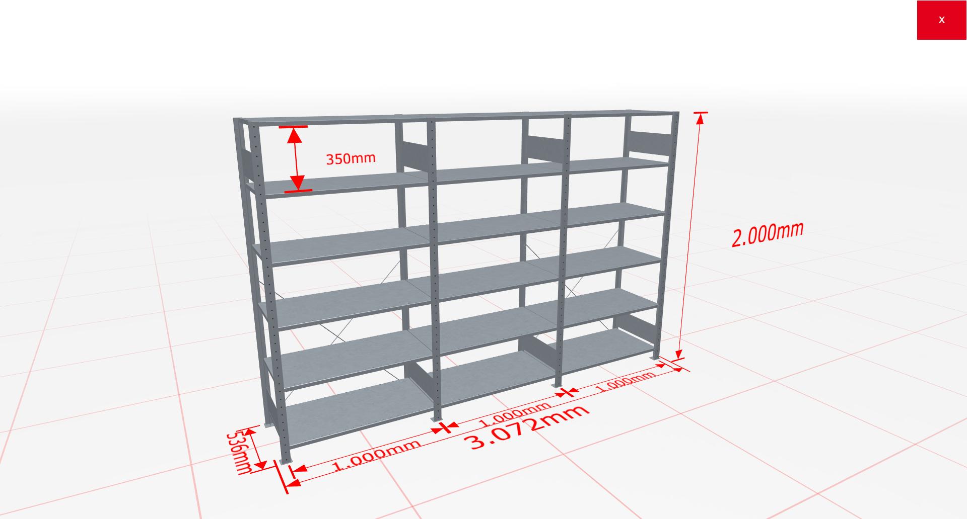 Fachbodenregal Komplettregal 2000x3072x500 mm (HxBxT) SCHULTE Lagertechnik verzinkt 6 Ebenen  150 kg je Boden