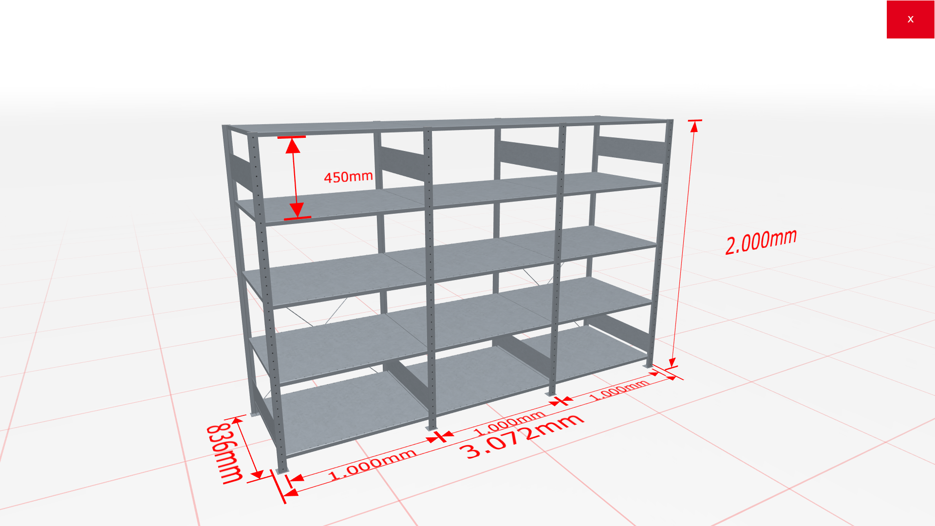 Fachbodenregal Komplettregal 2000x3072x800 mm (HxBxT) SCHULTE Lagertechnik verzinkt 5 Ebenen  150 kg je Boden